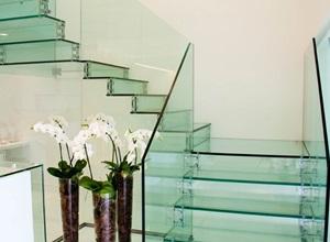 escada de vidro temperado