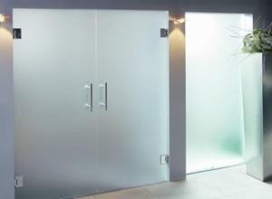 porta de vidro jateado